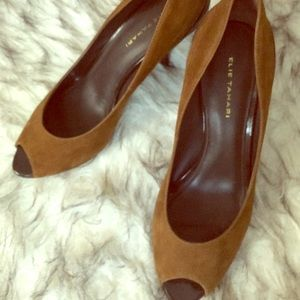 Elie Tahari suede pumps with brown patent leather